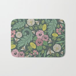 Pink pansy with dandelions and bee on gray background Bath Mat