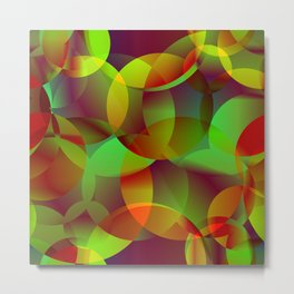 Vector abstract seamless background from space yellow and green bright circles and bubbles for fabri Metal Print