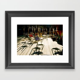 abandoned swings Framed Art Print
