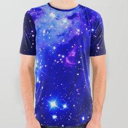 Fox Fur Nebula Galaxy blue purple All Over Graphic Tee