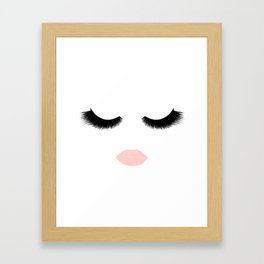eyelashes with pink lips Framed Art Print