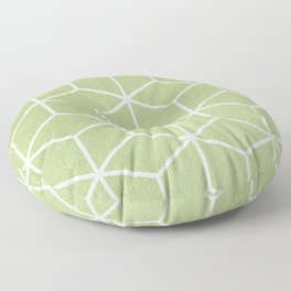 Lime Green and White - Geometric Textured Cube Design Floor Pillow