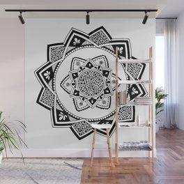 Sirasana black mandala on white Wall Mural
