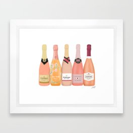 Rose Champagne Bottles Framed Art Print