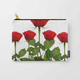 ORIGINAL GARDEN DESIGN OF RED ROSES ON WHITE Carry-All Pouch