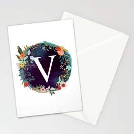 Personalized Monogram Initial Letter V Floral Wreath Artwork Stationery Cards
