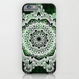 Mandala Emerald Spirit Spiritual Zen Bohemian Hippie Yoga Mantra Meditation iPhone Case