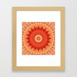 Mandala orange red Framed Art Print