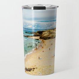 People Having Fun On Beach, Algarve Lagos Portugal, Tourists In Summer Vacation, Wall Art Decor Travel Mug