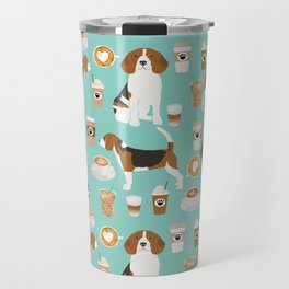 Beagle coffee print cute dog beagles coffees lattes Travel Mug