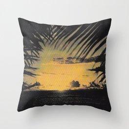 Hawaiian Sunset on Waikiki Beach Vintage Photo Throw Pillow