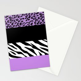 Animal Print, Zebra Stripes, Leopard Spots - Purple Stationery Cards