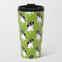 Cute double hooded pied French Bulldog wants your attention Travel Mug