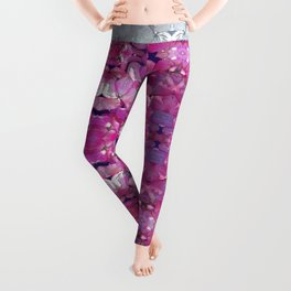 KOREAN DOGWOOD FLORAL COLLAGE Leggings