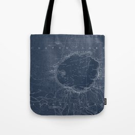 Crater Lake Blueprint Map Design Tote Bag