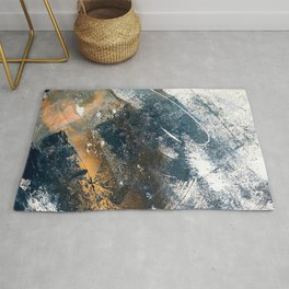 Wander [4]: a vibrant, colorful, abstract in blues, white, and gold Rug