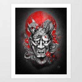 Hannya dragon mask Art Print