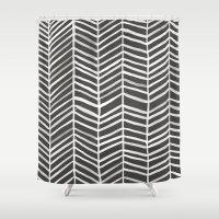 herringbone Shower Curtains featuring Herringbone – Black & White by Cat Coquillette