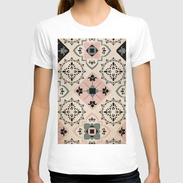 Mediterranean Inspired Tiles in Pink and Black T-shirt
