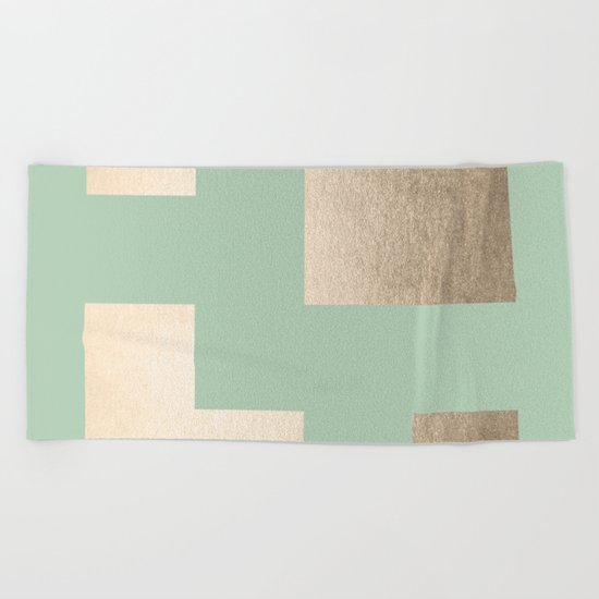 Simply Geometric White Gold Sands on Pastel Cactus Green Beach Towel