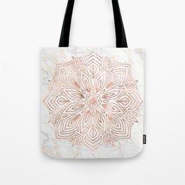 Mandala Rose Gold Quartz on Marble Tote Bag