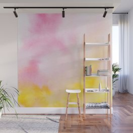 Yellow blush pink watercolor abstract brushstrokes pattern Wall Mural