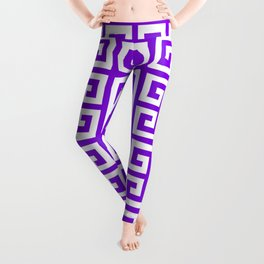 Greek Key (Violet & White Pattern) Leggings