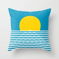 sunrise Throw Pillows featuring Sunrise by FLATOWL