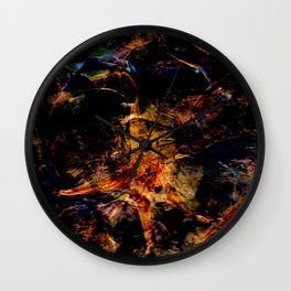 Dark Flower Press Pattern Wall Clock
