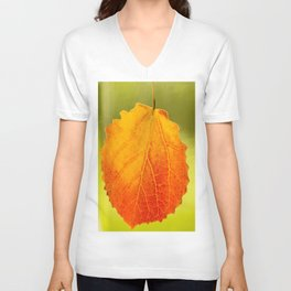 Orange Leaf Vivid Green Background #decor #society6 #buyart Unisex V-Neck