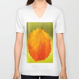 Orange Leaf Vivid Green Background #decor #society6 #buyart Unisex V-Neck