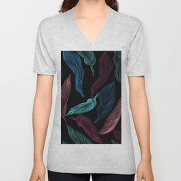 silk leaves Unisex V-Neck