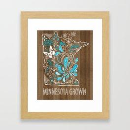 Minnesota Home Grown State Art Blue Style  Framed Art Print