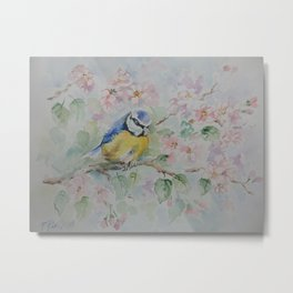 BLUE TIT Spring blossom and the little bird Wildlife watercolor painting Metal Print