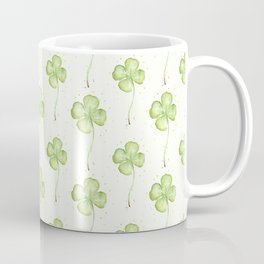 Four Leaf Clover Lucky Charm Pattern Watercolor Coffee Mug