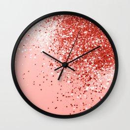 Sparkling Living Coral Lady Glitter #1 #shiny #decor #art #society6 Wall Clock