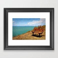 Park Bench On The Headland Framed Art Print