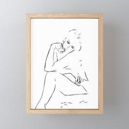 Woman Nude Minimal Drawing Framed Mini Art Print