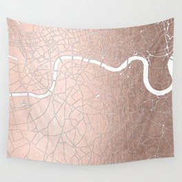 RoseGold on White London Street Map II Wall Tapestry