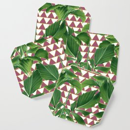Palms on Checker Triangle Pattern - White Rose Pink Gold Coaster