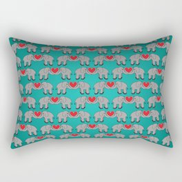 Elephant Heart Aqua Rectangular Pillow