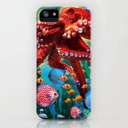 Red Octopus with Fish iPhone Case