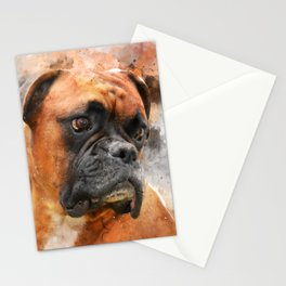 Boxer Dog Thinking Stationery Cards