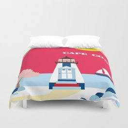 Cape Cod, Massachusetts - Skyline Illustration by Loose Petals Duvet Cover