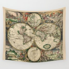 Ancient Map of the World - 1689 Wall Tapestry