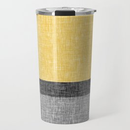 Yellow Grey and Black Section Stripe and Graphic Burlap Print Travel Mug