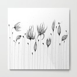 Flowers Black and White Metal Print