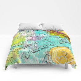 Mixed Media Music and Flowers Comforters