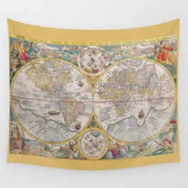 Antique Map of the World from 1594 Wall Tapestry