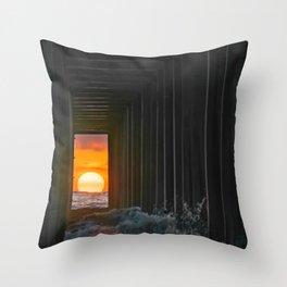 Sunset Through Scripps Pier II Throw Pillow